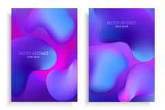 Vertical banners set with 3D abstract background with blue and purple wave motion flow, fluid gradient shapes. Vertical banners set with 3D abstract background vector illustration