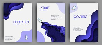 Vertical banners set with 3D abstract background and paper cut shapes. royalty free stock photography