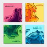 Vertical banners set with 3D abstract background and paper cut shapes. Vector design layout for business presentations. Flyers, posters and invitations vector illustration