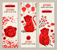 Vertical Banners Set with Hand Drawn Chinese New Year Monkeys. Royalty Free Stock Photo