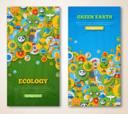 Vertical Banners Set with Icons of Ecology and Stock Images