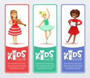 Vertical banners set with teenager girls practicing arts, playing the violin and accordion, ballet dancing. Kids club Royalty Free Stock Photography