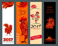 Vertical Banners Set. Vector illustration. Vertical Banners Set with 2017 Chinese New Year symbol fire cock. Translation integrated hieroglyphs: Red Rooster Stock Image