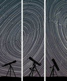 Vertical banners of stars trace circles. Stock Photo
