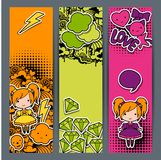 Vertical banners with sticker kawaii doodles.  Stock Image