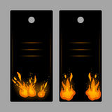Vertical banners-tags with fire. Flame vector illustration Royalty Free Stock Images