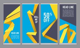 Vertical banners template. Mall roll up office presentation advertizing stand display billboard vector design stock illustration