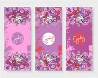 The vertical banners to the perfumery and cosmetic booklet with hand-drawn elements of  vector illustrations Stock Photos