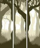 Vertical banners of tree trunks with grass. Royalty Free Stock Image