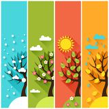 Vertical banners with winter spring summer autumn Stock Photography