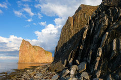 Vertical beds at Perce, the rock in the background Stock Images