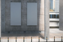 Vertical billboards on concrete building Royalty Free Stock Photos