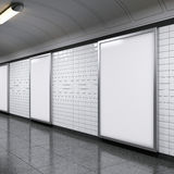Vertical billboards on metro station. Blank vertical billboards on metro station. 3d rendering stock photo
