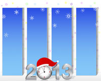 Vertical billboards with the silver 3d 2013. New Year. Vertical billboards with silver 3d 2013 with the clock in the hat of Santa. Vector Royalty Free Stock Image