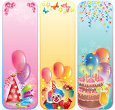 Vertical birthday banners Royalty Free Stock Images
