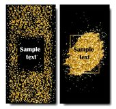 Vertical Black and Gold Banners Set, Greeting Card Design. Golden Dust. Vector Illustration. Happy New Year and Stock Image