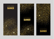 Vertical Black and Gold Banners Set, Greeting Card Design. Golden Dust. Vector Illustration. Poster Invitation Template.  Royalty Free Stock Images