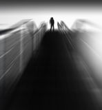 Vertical black and white man's back on stairs abstraction Stock Photography