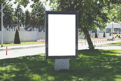 Vertical blank billboard on the city stock photography