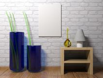 Vertical empty canvas hanging on the wall - 3D rendering. A vertical blank canvas is hanging on a white brick wall of a room having wooden pavement, some Royalty Free Stock Photography