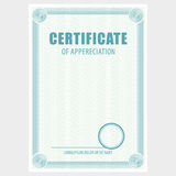 Vertical blank certificate. The document with the secret grid and place for stamp. Vector Royalty Free Stock Photography