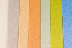 Vertical blinds fabric. Different colored textile vertical blinds samples Stock Photo