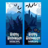 Vertical blue cards with the spooky forest Royalty Free Stock Images