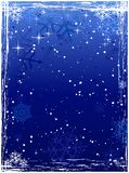 Vertical blue grunge winter background. Vertical winter background with snowflakes and grunge elements in cold white and blues. Global colors Royalty Free Stock Photography