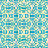 Vertical blue and yellow floral pattern Stock Images