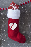 Vertical Boot With Gift, Cement Background, Nicholas Day, Snowflakes Stock Image