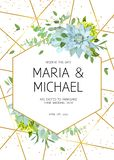 Vertical botanical vector design frame. Baby blue eucalyptus, succulents, green hydrangea, wildflowers, greenery, leaves, herbs. Natural spring wedding card stock illustration