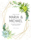 Vertical botanical vector design frame. Eucalyptus, succulents, green hydrangea, wildflowers, greenery, leaves, herbs. Natural spring wedding card. Gold line royalty free illustration