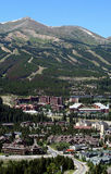 Vertical of Breckenridge, Colorado. This is a summer view of Breckenridge Ski Area and the resort town Stock Images