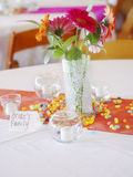 Vertical: Bride's Family Table at Wedding Stock Photo