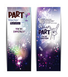 Vertical bright banners with light effects. Royalty Free Stock Photo