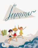 Vertical bright illustration with three young girls, going to the sea. Vector image, with surf boards, sea, fun and happy girls, w Stock Photography