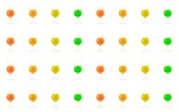 Vertical bright row of green red orange and yellow drinks cafe bar design on a white background culinary base design stock images