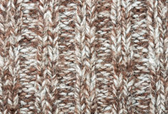 Vertical Brown Knitting or Knitted Fabric Texture Pattern Backgr Royalty Free Stock Image