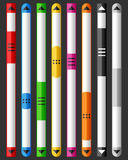 Vertical Browser or Website Scroll Bar Set. Collection of eight vertical colorful browser or website scrollbar, isolated on dark background. Useful for Stock Photo