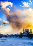 Vertical burning sunset near Russian churches background backdro Royalty Free Stock Photos
