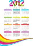 Vertical calendar for 2012 year with rainbow. Vector illustration vector illustration