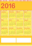 2016 vertical calendar english Stock Photos