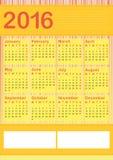 2016 vertical calendar english Stock Photos