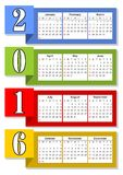 2016 vertical calendar with rainbow overlapping colorful stripes, eps 10 vector Royalty Free Stock Image