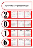 2016 vertical calendar with simply red graphic design. Eps 10 vector template with empty space for own corporate design. Royalty Free Stock Photography