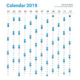 Vertical 2019 calendar vector design. Saturday and Sunday weekend. royalty free illustration