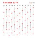Vertical 2019 calendar vector design. Sunday weekend. vector illustration