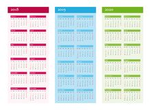 Vertical Calendar for 2018 2019 2020 years. Vector on CMYK. Royalty Free Stock Photography