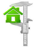 Vertical caliper measures house symbol Stock Photos
