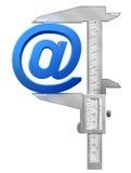 Vertical caliper measures mail symbol Stock Image